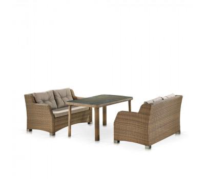 Обеденный комплект с диванами T51B/S51B-W65 Light brown из искусственного ротанга