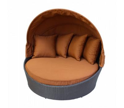 Кровать КМ-0099 коричневая из искусственного ротанга