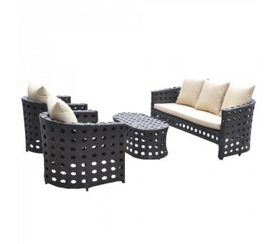 Комплект плетеной мебели KM-0008 Black из искусственного ротанга