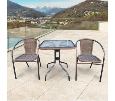 Комплект мебели Асоль-2A TLH-037AR2/060SR-60х60 Cappuccino (2+1) из искусственного ротанга