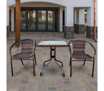 Комплект мебели Асоль-2B TLH-037BR2/060SR-60х60 Brown (2+1) из искусственного ротанга