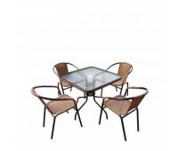 Комплект мебели Николь-2LB TLH-037С-TLH070SR-70x70 Light Beige (4+1)