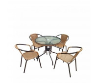 Комплект мебели Николь-1LB TLH-037С-TLH080RR-D80 Light Beige (4+1)
