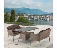 Обеденный комплект с диванами T198B/S54B-W56 Light brown