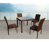 Обеденная группа Milano темно-коричневая с банкетными стульями