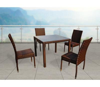 Обеденная группа Milano темно-коричневая с банкетными стульями из искусственного ротанга