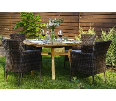Обеденный комплект MODENA 120 см на 4 персоны с креслами из искусственного ротанга
