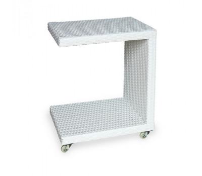 Кофейный стол Milano белый из искусственного ротанга