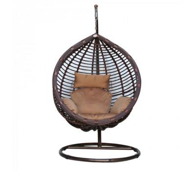 Подвесное кресло KM-0021 коричневое среднее из искусственного ротанга